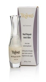 Healthy, strong nails in just two weeks. TRIND Nail Repair Anti-Bite is a unique nail strengthener with an anti-bite formula. The nasty, bitter taste helps you quit biting your nails in no-time while the unique formula helps you get prettier and stronger nails.  http://www.trind.com/products/trind-nail-repair-anti-bite