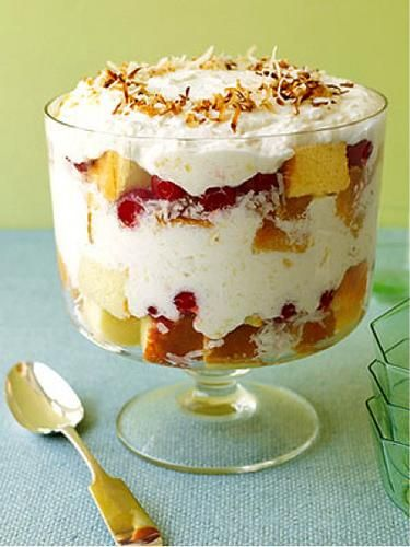 Pina Colada Trifle   not sure how healthy it is but  it's   food  so in my category  here  it goes !