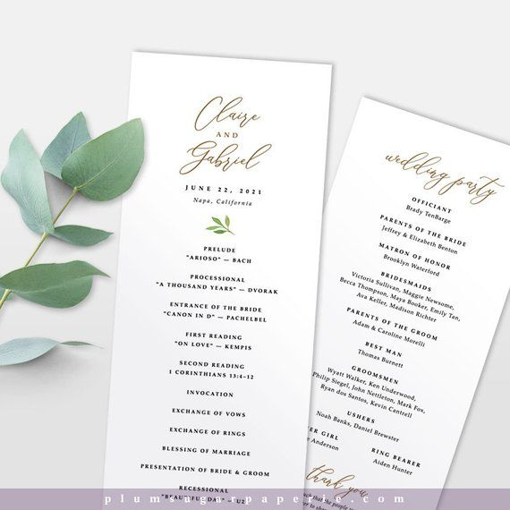 Wedding Ceremony Order Of Service Program Template Modern Etsy Wedding Ceremony Programs Template Wedding Programs Template Order Of Wedding Ceremony