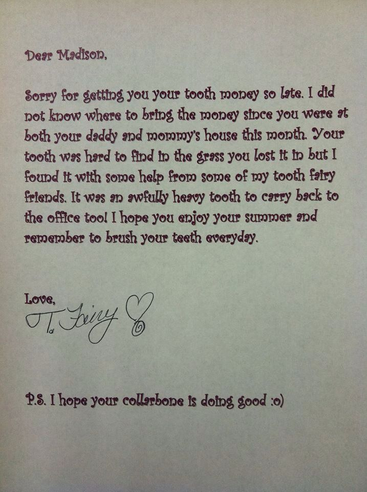 Apology letter from the tooth fairy when you forget that dollar - apology letter to family