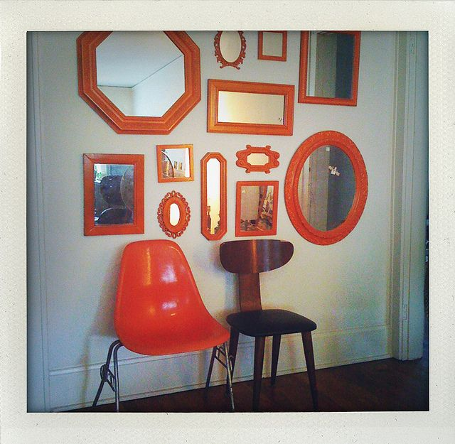 a collage of mirrors will be perfect for my guest bath (w/ corner sink).