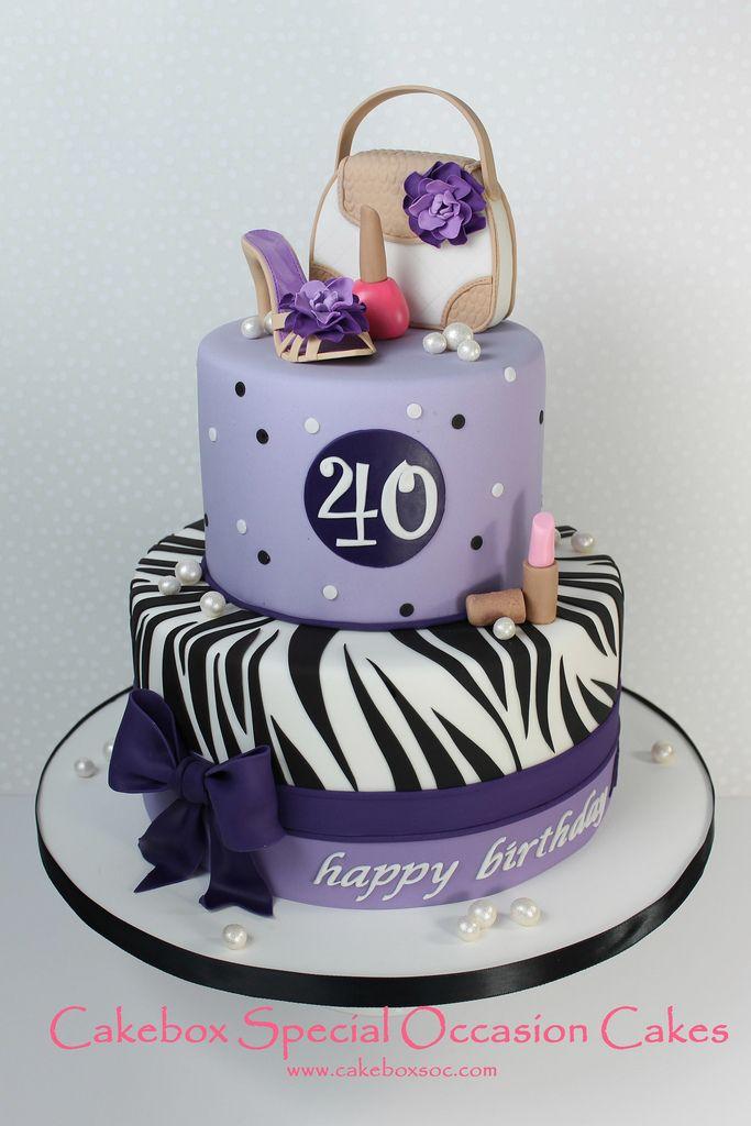 Girly birthday cake with sugar purse, shoe and make up