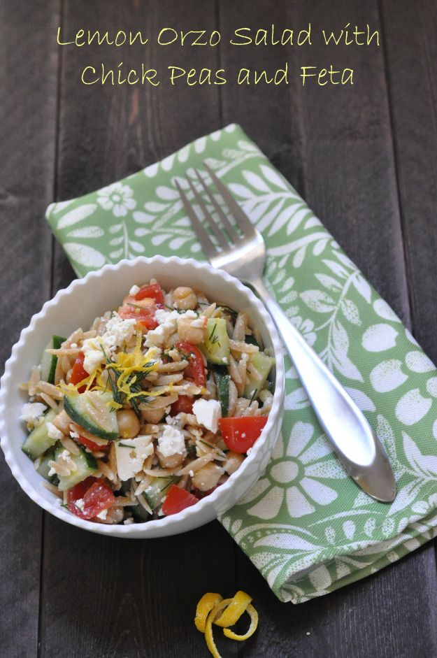 Whole Wheat Orzo Salad With Kale, Chickpeas, Lemon, And Feta Recipe ...