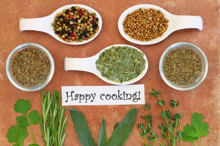 Happy cooking card with selection of herbs and spices