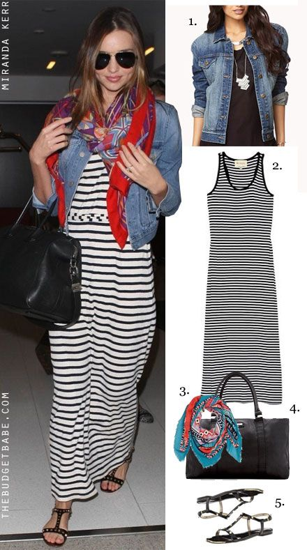 Miranda Kerr's striped maxi dress / Shop the look for less at thebudgetbabe.com