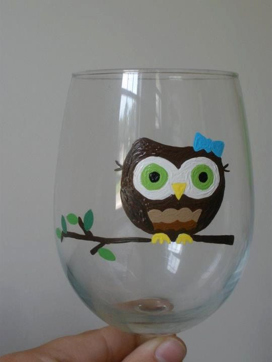 Cartoon Owl Hand Painted Wine Glass. $15.00, via Etsy.  Cute!