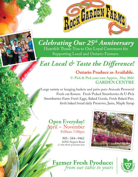 Celebrating our 25th Anniversary this April to November and We're open everyday! Rock Garden Farms - Caledon East, Ontario, Canada