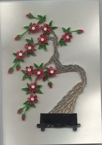 Quilled: Bonsai Trees, Quilled Bonsai, Craft Quilling, Filigree Quilling, Quilling Art, Bonsai Cherry, Quilling Flowers, Paper Quilling, Craftiness Quilling