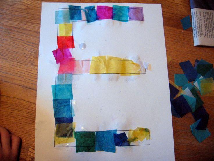 tissue paper  -- Letter E craft idea