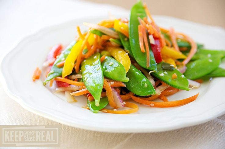 Snow Pea Salad - Add snap peas & cilantro and eliminate red onion. No need to blanch veggies. Can use Trader Joes fat free sesame dressing instead of making from scratch.