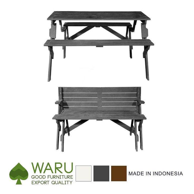 Meja Piknik (TB-02)  Meja multifungsi. Dapat menjadi kursi Risban 2 seater saat dilipat dan menjadi meja piknik saat dibuka. Berdimensi panjang 138 cm lebar 128 cm dan tinggi 75 cm. Tersedia dalam 3 pilihan warna.  IDR 560.000  #waru #woodwork #mejakayu #mejapiknik #kursilipat #kursirisban #furniture #mebel #homedecor #mebelkayu de waru.katalog