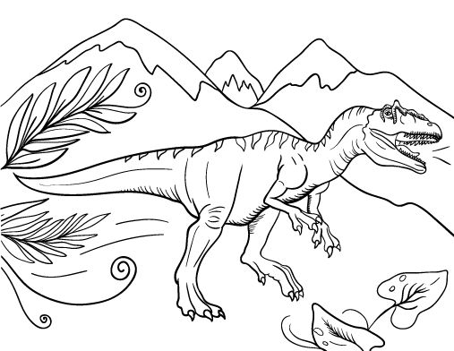 Printable allosaurus coloring page