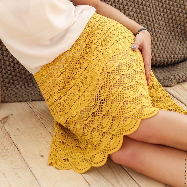 Купить Юбка Охра, Авторская работа - желтый, однотонный, лен, охра, горчица, юбка летняя