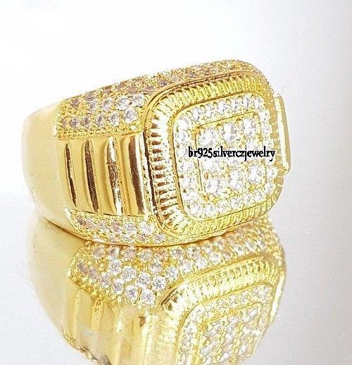 14K Yellow Gold Plated Round 1.50 Ct Diamond Wedding Engagement Pinky Men's Ring #br925silverczjewelry #MensWeddingRing #WeddingEngagementAnniversaryBirthdayGift
