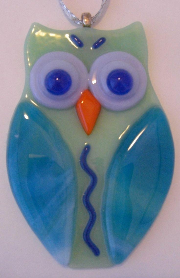 Cute Fused Glass Owl Ornament by DawnRiveraDesigns on Etsy, $20.00