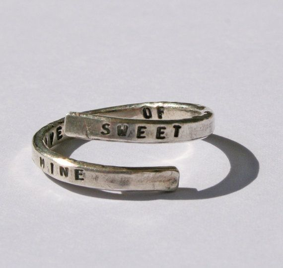 Guns n Roses Lyric Ring, 'Sweet Child O' Mine' Sterling Silver, 925, Appetite for Destruction, handmade. Music