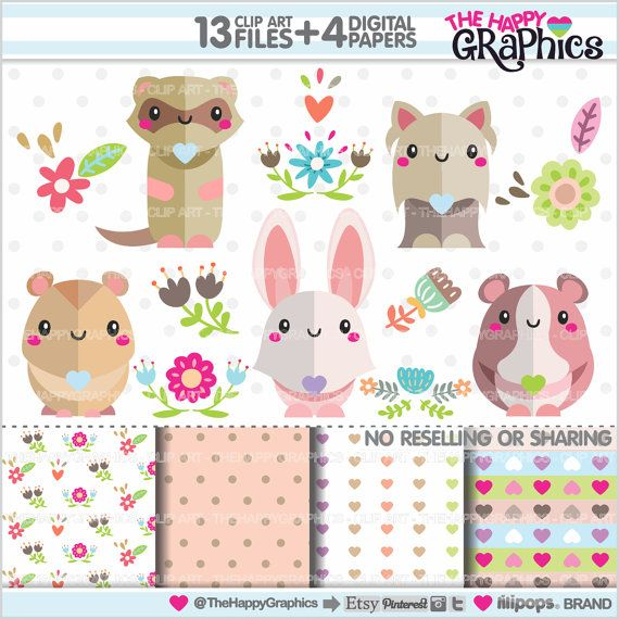 Spring Clipart, Spring Graphics, COMMERCIAL USE, Kawaii Clipart, Animals Graphics, Pets Clipart, Planner Accessories, Spring Party, Rabbit