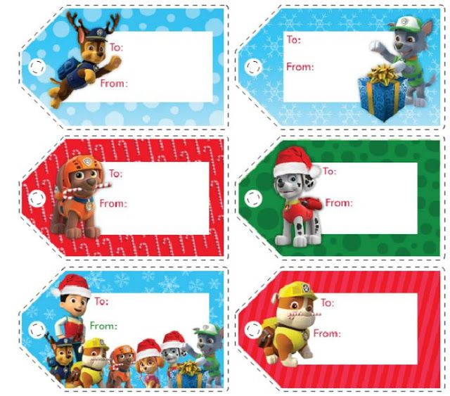 Paw Patrol Free Printable Christmas Tags