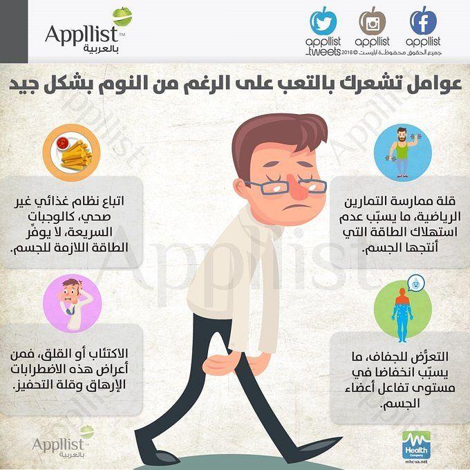 Appllist On Instagram عوامل تشعرك بالتعب على الرغم من النوم بشكل جيد انفوجرافيك ابليست بالعربية صحة نصائح Incoming Call Screenshot Health Incoming Call