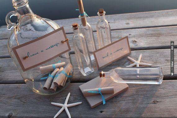 Message in a Bottle Beach Wedding Guest Book by Etsy seller decadentdesigns | VIA #WEDDINGPINS.NET