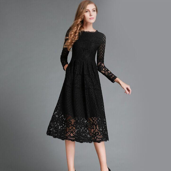 New 2016 Autumn Fashion Hollow Out Elegant White Lace Elegant Party Dress High Quality Women Long Sleeve Casual Dresses H016