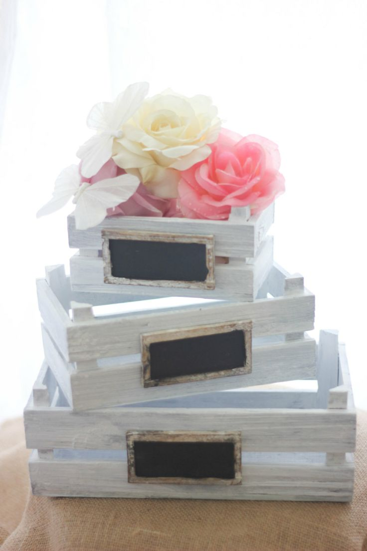 "I can make these - crates from AC Moore. Stain them a darker color (not white). Buy wood for chalkboard and already have chalkboard paint. Use for ""cards"" and ???"