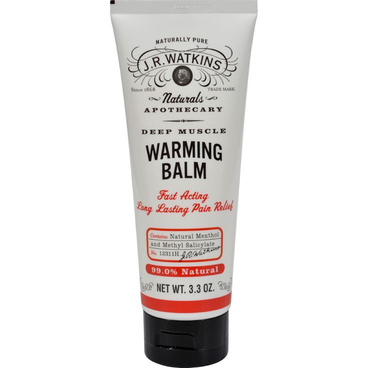 J.R. Watkins Deep Muscle Warming Balm - 3.3 oz - J. R. Watkins Deep Muscle Warming Balm Description:    99% Natural  Penetrates quickly to relieve muscle tension and soreness  Temporary relief from minor arthritis  Clean squeeze dispensing  Eco-friendly formula and packaging   Wintergreen extract (natural methylsalicylate) menthol and capsaicin join forces to warm-up muscles naturally. Plus weve eliminated potentially harmful chemicals like parabens and propylene glycol. Carry it in your…