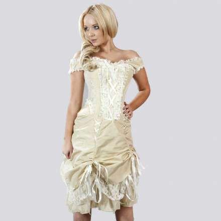 Viktorianisches Kleid mit Korsett, Trägern und Spitze