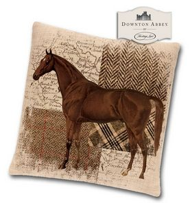 Downton Abbey Hunt Club Pillow - Bay Thoroughbred Pillows - Equestrian - Pillows - Equestrian - By Heritage Lace #DHC1818NA-7 at Horse and Hound Gallery