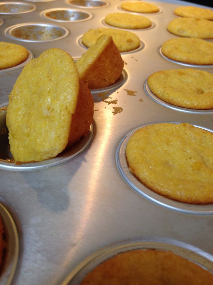 Mini Cornbread Pudding Muffins = fold in one mini can of creamed corn, 2 tbsp honey, and 1 heaping spoonful of sour cream to the batter of 1 Jiffy Corn Muffin mix. Spoon into a greased 20-cup mini muffin pan and bake for 15 minutes at 350.