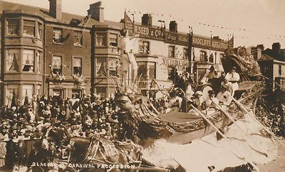 Rp early blackpool #carnival - horse driven #float of #ship, crowds, houses, View more on the LINK: http://www.zeppy.io/product/gb/2/381490487420/