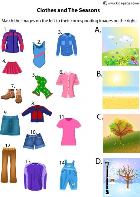 The Seasons And Clothes worksheets http://www.kids-pages.com/folders/worksheets/Seasons/ClothesandSeasons.pdf