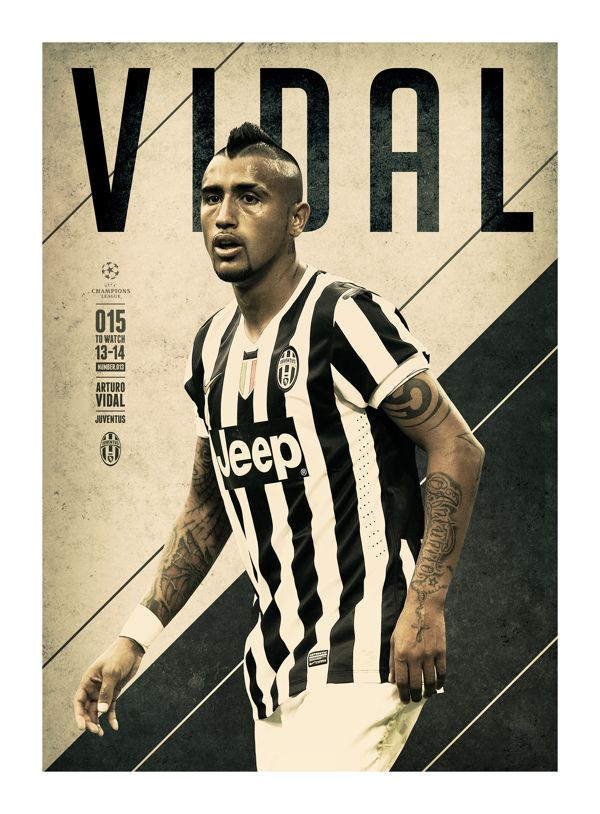 #VIDAL @UEFAcom @Get Real Premier UEFA CHAMPIONS LEAGUE: 15 TO WATCH by Andy Greaves, via Behance