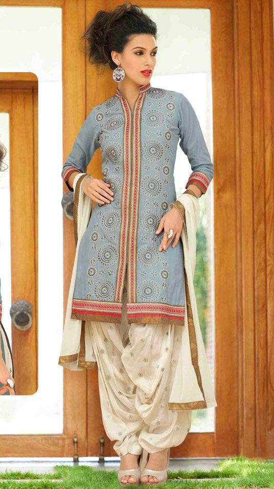 USD 32.90 Gray Cotton Punjabi Suit 48425
