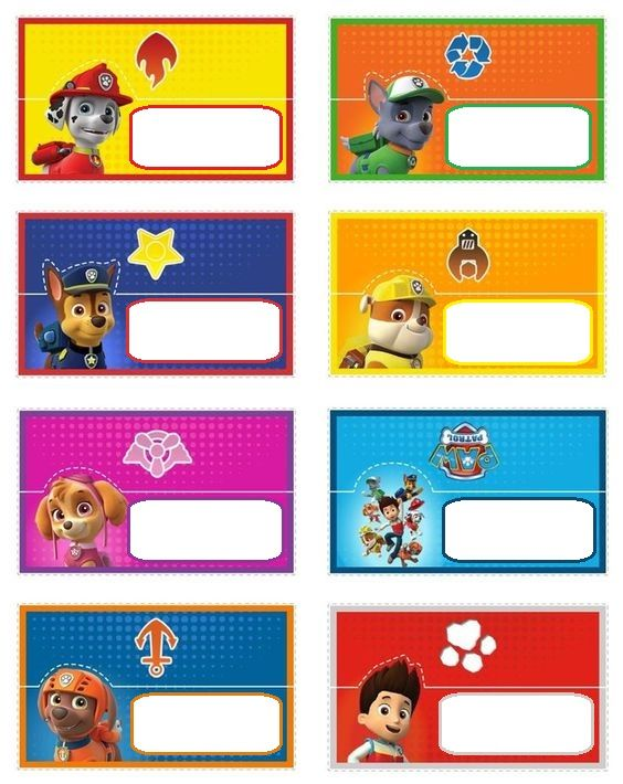 Paw Patrol Food Tent Card - This is not my original Creation. I saved the picture and edited it to be food labels. You can find the original pinned on my board.