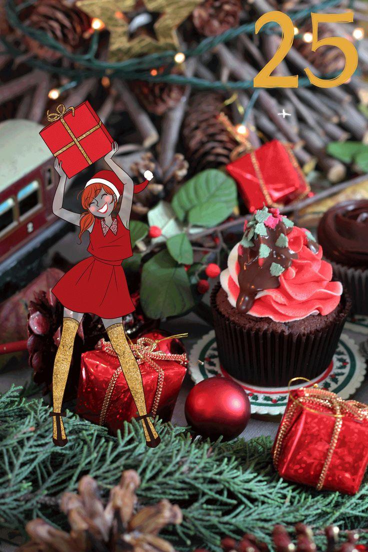 Advent Calendar Christmas Cupcake Creamy Bakery X Djoïna  Lolly porte une robe Asos et des escarpins noeuds Nicholas Kirkwood Remerciement spécial à Sarah, soeur de Djoïna...