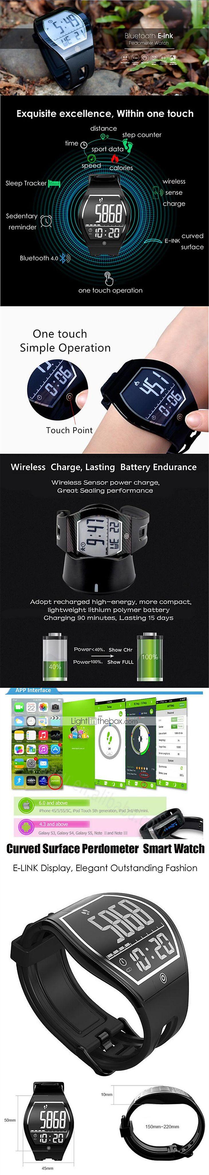 e - ink felszíni képernyős hirdetés intelligens órák bluetooth mozgás lépés nyomtáv alvás ellenőrző mozgásszegény emlékeztetni divat 5728159 2017 – €70.80