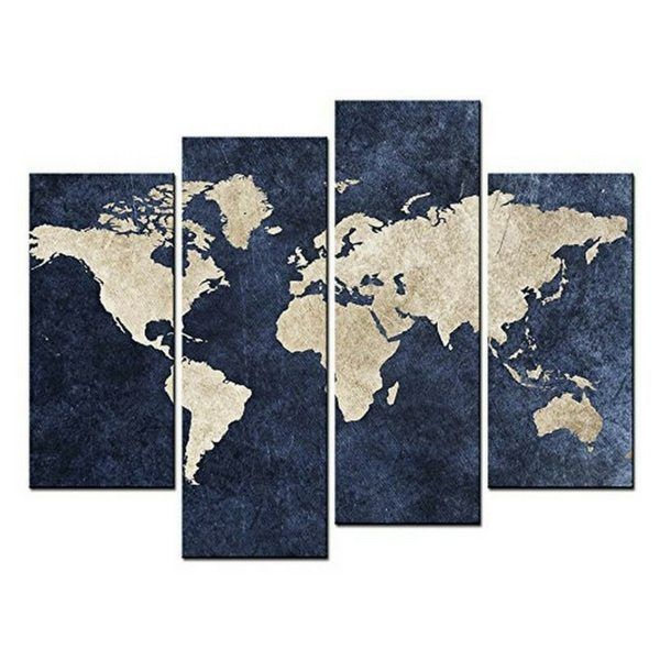 Navy Is The New Black | Using Navy Blue As A Neutral In Your Home & Apartment Decor | 4-Panel World Map Wall Art