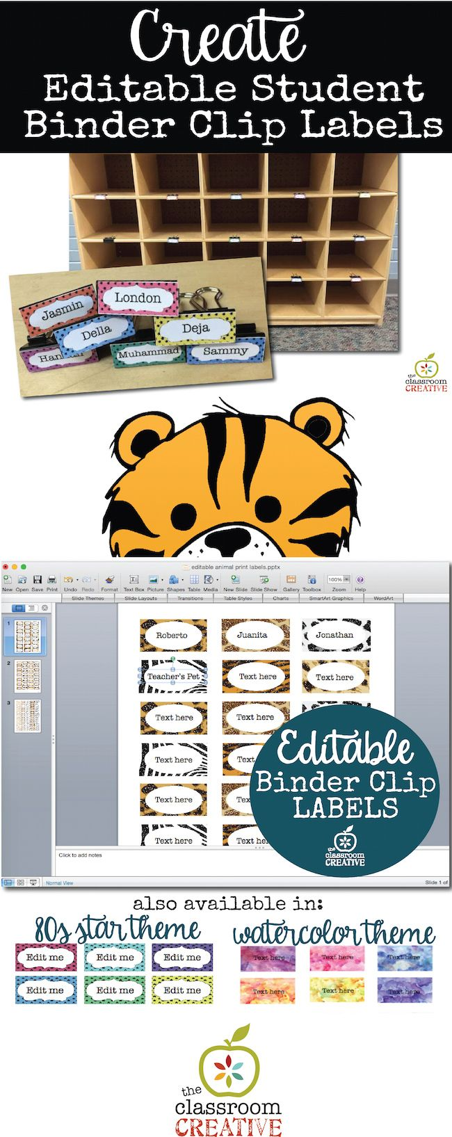 If you have student cubbies or mailboxes, editable binder clip labels are a must-have.   #backtoschool #classroomorganization #labels #binderclips #teachers
