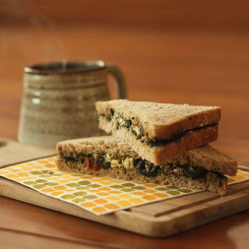 Vegetarian Mediterranean Sandwich. Goes great with green tea.