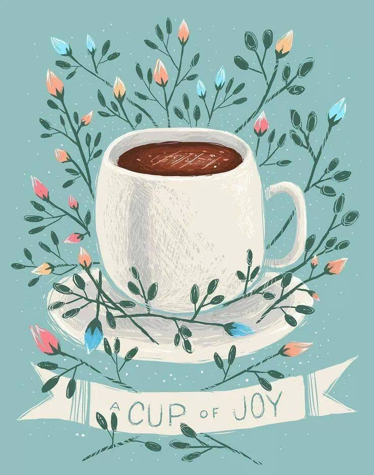 A Cup of Joy by Kelsey King Illustration [Tired - Coffee -  Drawing]