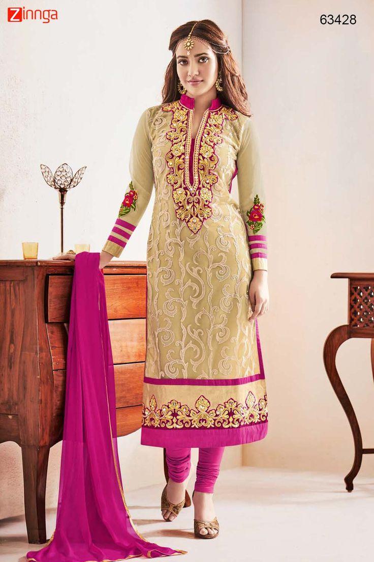Neha Sharma ! Churidar Style Salwar Kameez in Pink Color. Message/call/WhatsApp at +91-9246261661 or Visit www.zinnga.com
