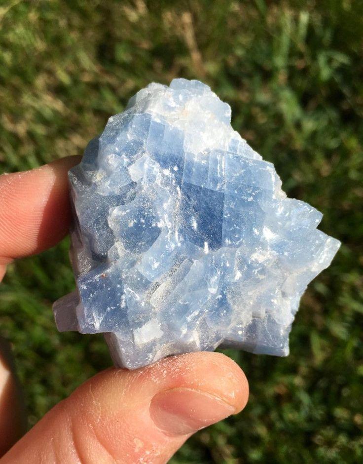Crystals And Gems...  Raw Blue Calcite Crystal (medium)