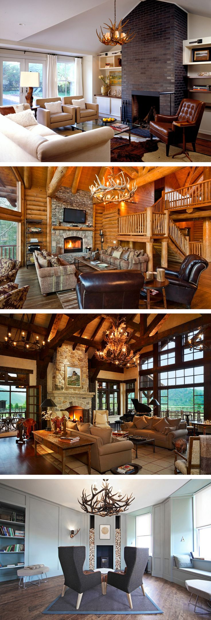 fascinating english style living room design | Fascinating Antler Chandeliers in 22 Interesting Living ...