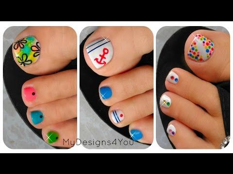 3 Easy Summer Toenail Designs - YouTube