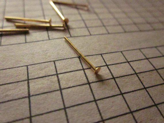15mm Brass Head #Pin Gold Plated 22ga http://etsy.me/1IebTan #jewelry #brass #jewel #gem #bezel #goldplated #gold #24k