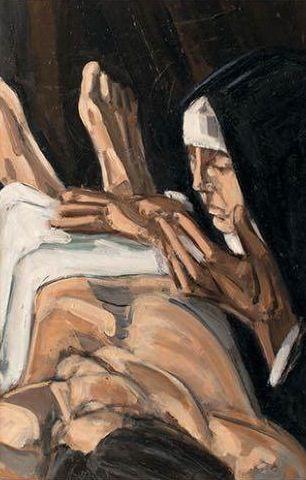 Dolores Puthod Deposizione  1990 olio su tela cm 40x60