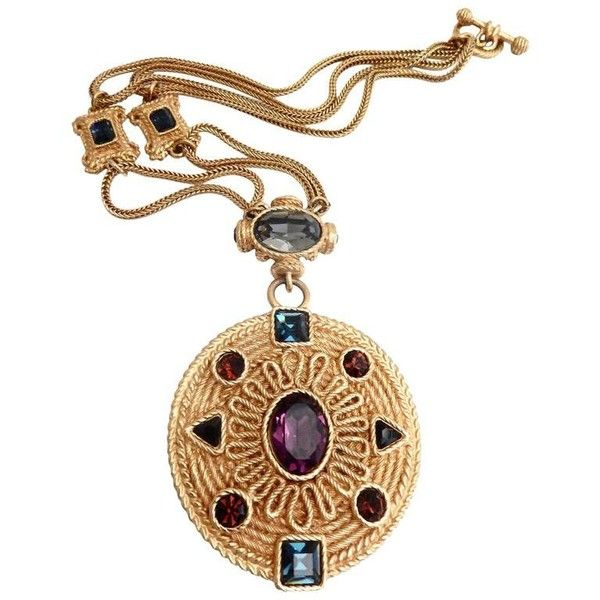 Preowned 1980s Balenciaga Renaissance-inspired Pendant Necklace ($850) ❤ liked on Polyvore featuring jewelry, necklaces, beige, pendant necklaces, renaissance jewelry, imitation jewellery, 80's fashion jewelry and balenciaga necklace