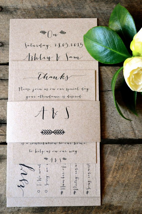 Rustic Wedding Invitations by LaPommeEtLaPipe on Etsy