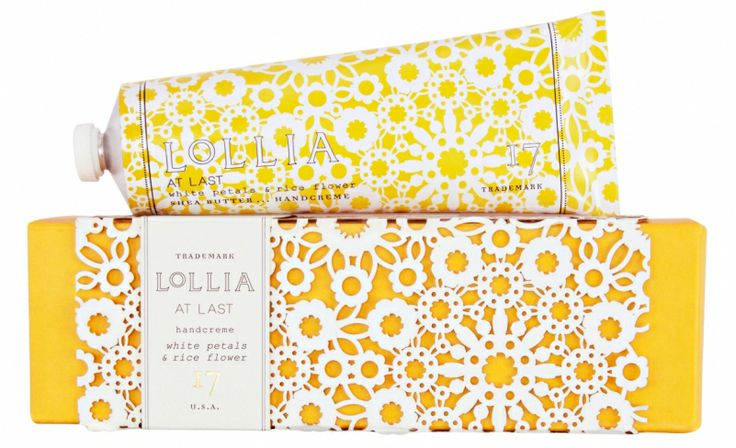 yellow and white lace doily packaging by Lollia